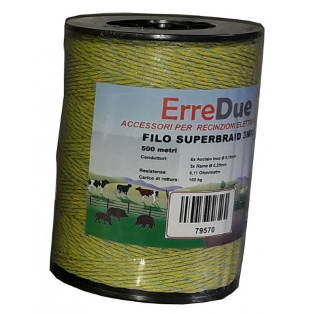 Filo superbraid 3mm - 6 inox 0,16 + 3 rame 0,25 - 0,11 Ohms/m - 500 m
